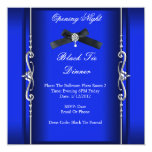 Opening Night Black Tie Formal Blue Silver Personalized Invite