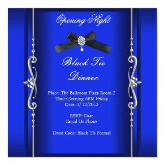Opening Night Black Tie Formal Blue Silver 5.25x5.25 Square Paper Invitation Card