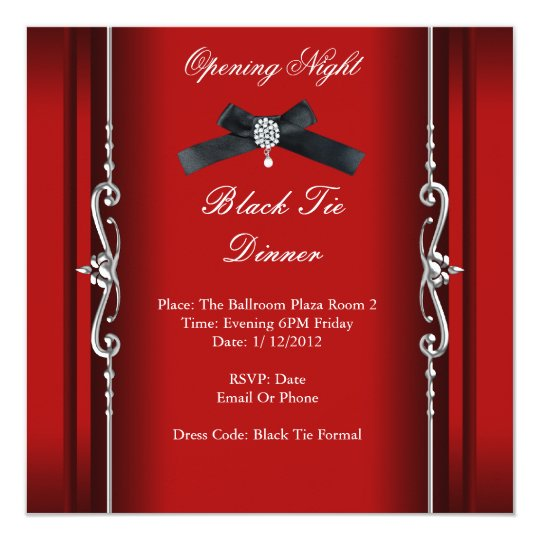 Opening Night Black Tie Formal Red Silver Card