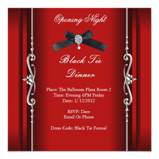 Opening Night Black Tie Formal Red Silver Invitation