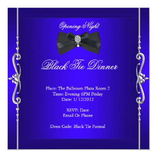 Opening Night Black Tie Formal Royal Blue 5.25x5.25 Square Paper Invitation Card