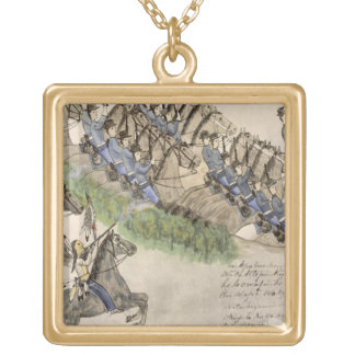 Opening of the Battle of the Little Big Horn (ink Gold Plated Necklace