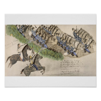 Opening of the Battle of the Little Big Horn (ink Poster
