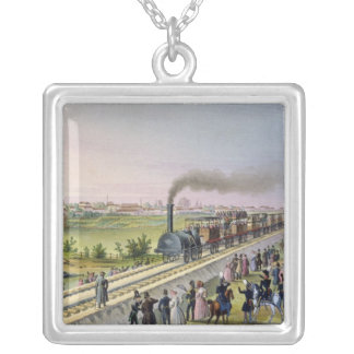Opening of the First Railway Line Square Pendant Necklace