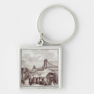 Opening of the Hungerford Suspension Bridge Silver-Colored Square Keychain