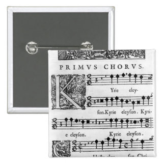 Opening page of the Mass for Double Choir Pinback Button