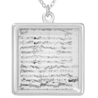 Opening page of the score of 'Les Paladins' Silver Plated Necklace