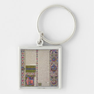 Opening words of Leviticus Silver-Colored Square Keychain