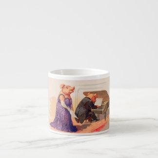 Opera and Expresso - Anthropomorphic Singing Pig 6 Oz Ceramic Espresso Cup