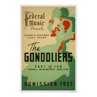 Ópera de los gondoleros WPA 1937 Posters