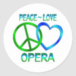 ÓPERA del amor de la paz Etiqueta Redonda