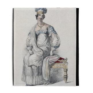 Opera dress, fashion plate from Ackermann's Reposi iPad Case
