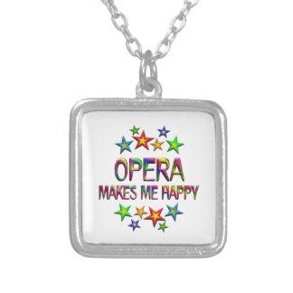 Opera Happy Square Pendant Necklace