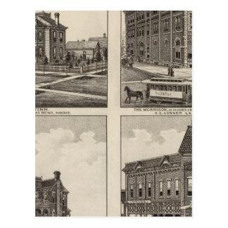 Opera House and Residences in Kansas Postcard