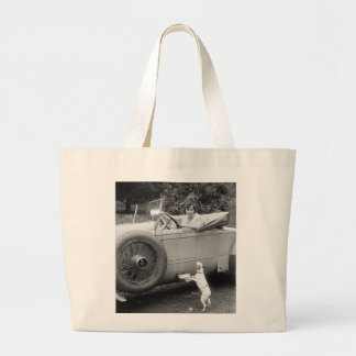 Opera Singer with her Dog 1920s Canvas Bags