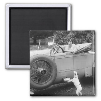 Opera Singer with her Dog, 1920s 2 Inch Square Magnet