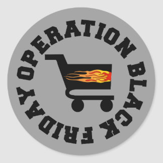 Operación viernes negro pegatina redonda