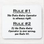 Operador de entrada de datos de la regla tapetes de ratones