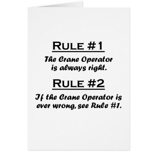 Operador de grúa de la regla tarjeta pequeña