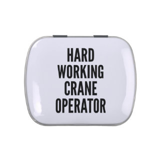 Operador de grúa de trabajo duro frascos de caramelos