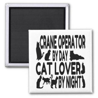 Operador de grúa del amante del gato imán cuadrado