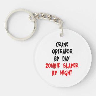 Operador de grúa del asesino del zombi llavero redondo acrílico a doble cara