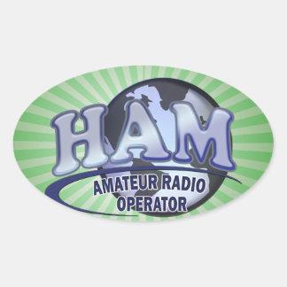 OPERADOR DE RADIO AFICIONADO AZUL DEL LOGOTIPO DEL PEGATINA OVALADA