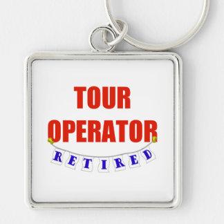 Operador turístico jubilado llavero cuadrado plateado