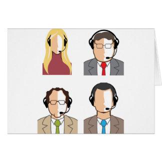 Operadores con las auriculares tarjeta de felicitación