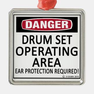 Operating Area Drum Set Square Metal Christmas Ornament