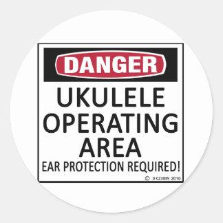 Operating Area Ukulele Classic Round Sticker
