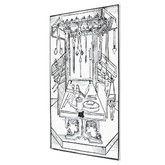 Operating table and surgical instruments, from 'Da Canvas Print