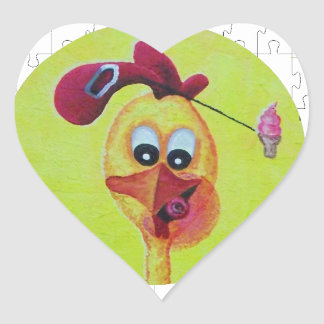 Operation chicken head heart sticker