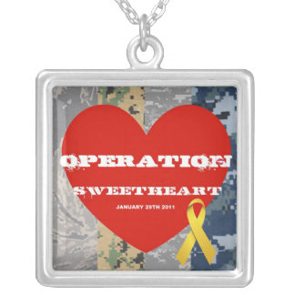 Operation Sweetheart Keep Square Pendant Necklace