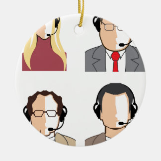 Operators with headsets ceramic ornament