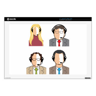 Operators with headsets decals for laptops