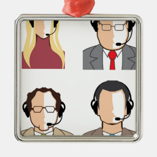 Operators with headsets metal ornament