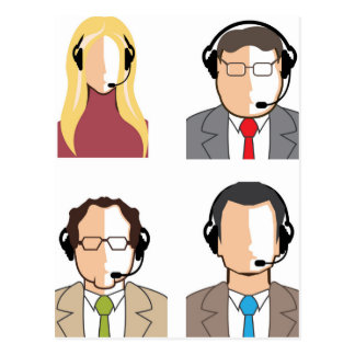 Operators with headsets postcard