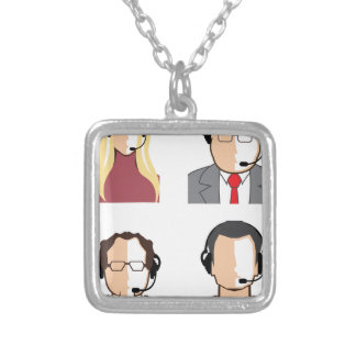 Operators with headsets square pendant necklace