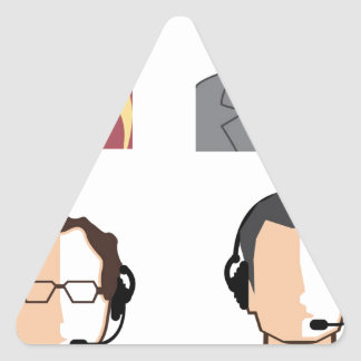 Operators with headsets triangle sticker
