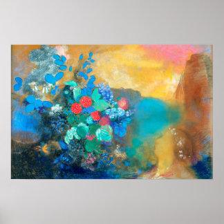 Ophelia Among the Flowers | Odilon Redon Poster