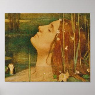 Ophelia Asleep in Flowers Poster