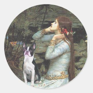 Ophelia &- Boston Terrier Classic Round Sticker