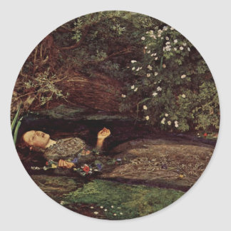 Ophelia By Millais, John Everett (Best Quality) Classic Round Sticker