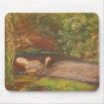 Ophelia by Millais Vintage Victorian Preraphaelite Mousepad