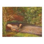 Ophelia by Millais Vintage Victorian Preraphaelite Postcard