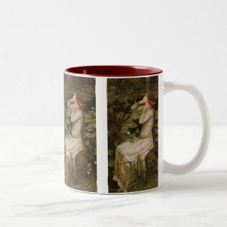 Ophelia (By The Pond) JW Waterhouse, Victorian Art Two-Tone Coffee Mug
