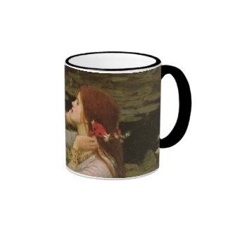 Ophelia (By The Pond) JW Waterhouse, Victorian Art Ringer Coffee Mug