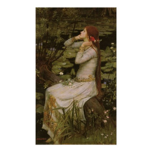 Ophelia (By The Pond) JW Waterhouse, Victorian Art Poster