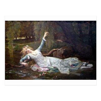 Ophelia, drowning postcard